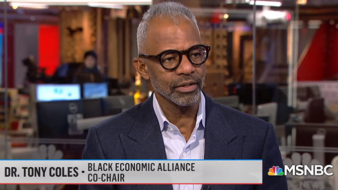 """BEA Co-Chair Tony Coles on Today's MSNBC's """"Velshi"""" Show"""